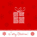 Christmas set. Merry christmas greeting card- present box,  knitted ornaments Stock Image