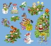 Christmas set. Set of watercolour drawn Christmas elements including Christmas tree, Santa, snowman, gifts Stock Image