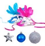 Christmas set. Christmas set with balls and masks royalty free stock photo