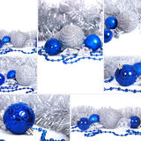 Christmas set. Set of christmas backgrounds with blue and silver balls stock photography