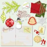 Christmas set. Christmas vintage paper set. Digital scrapbooking elements for you design Stock Photos