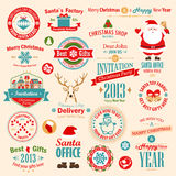 Christmas set. Labels, emblems and other decorative elements. Vector illustration Royalty Free Stock Photos