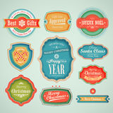 Christmas set. Scrapbook labels and emblems Stock Photography