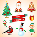 Christmas set. Set of colorful christmas characters and decorations Stock Images