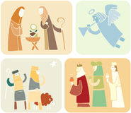 Christmas set (5). Four religious illustrations for Christmas Stock Photography