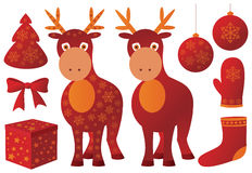 Christmas set. With deer and red objects Royalty Free Stock Photo