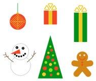 Christmas set. Snowman, gifts, ball, tree, cake Royalty Free Stock Image