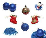 Christmas set. Set of christmas balls, ornaments and red holiday stockings. Isolated on white background Royalty Free Stock Photography