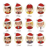 Christmas Set of avatars your office team. Royalty Free Stock Image