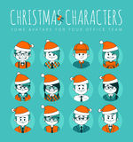Christmas Set of avatars your office team. Stock Image
