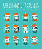 Christmas Set of avatars your office team. Royalty Free Stock Photo