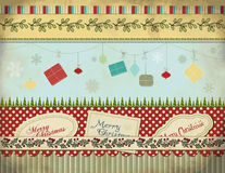 Christmas Set: Background, Borders, Labels, Gifts Royalty Free Stock Photography