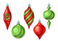 Christmas set of balls. Holiday vintage decorations for tree. Greeting celebration decor Royalty Free Illustration