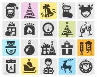 Christmas set black icons. signs and symbols Royalty Free Stock Photos