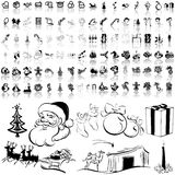 Christmas set of black sketch. Part 6. Royalty Free Stock Image