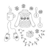 Christmas set with black and white objects. Christmas set with cartoon black and white objects. Collection of isolated vector elements for design of xmas vector illustration