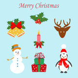 Christmas Set. On the blue background. Vector illustration Stock Image