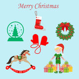 Christmas Set. On the blue background. Vector illustration Royalty Free Stock Photo