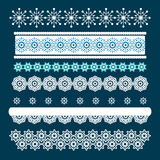 Christmas set of Borders with Snowflakes. Stock Photos