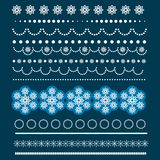 Christmas set of Borders with Snowflakes. Royalty Free Stock Photography