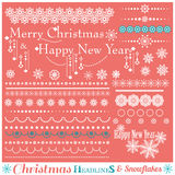 Christmas set of Borders with Snowflakes. Stock Photo