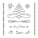 Christmas set of calligraphic decorative elements Royalty Free Stock Image