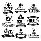 Christmas set of Calligraphic And Typographic Design With Labels Stock Image