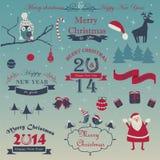 Christmas set. With christmas cap, deer, santa, christmas balls, christmas trees, ribbons, horseshoes, gift boxex, birds, owl, bows and calligraphy elements stock illustration