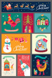 Christmas set of cards. Collection of stickers, backgrounds Royalty Free Stock Photo