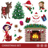 Christmas set of cartoon characters. Cute cartoon characters for your design Royalty Free Stock Photos