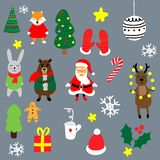 Christmas set with cartoon New Year characters. Collection of xmas elements for greeting card design. Christmas icons. royalty free stock image