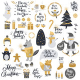 Christmas Set with Cartoon New Year Characters. Collection of xmas elements for greeting card design in silver and golden colors. Forest animals, mottos Royalty Free Stock Images
