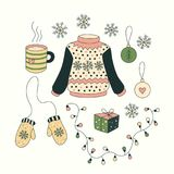 Christmas set with cartoon objects. Collection of isolated vector elements for design of xmas greeting cards. Cute mittens, sweater, mug of tea, decorations stock illustration