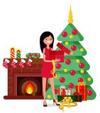 Christmas set in cartoon style. Woman unpacks a box on the background of a fireplace, Christmas trees and gifts Stock Images