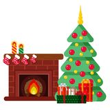 Christmas set in cartoon style. Fireplace, Christmas tree and gifts. Cartoon Royalty Free Stock Photos