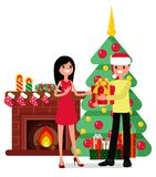 Christmas set in cartoon style. Man gives a woman a gift on the background of a fireplace, a Christmas tree and gifts Stock Images