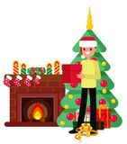 Christmas set in cartoon style. A man unpacks a box on the background of a fireplace, a Christmas tree and gifts Royalty Free Stock Images