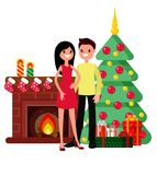 Christmas set in cartoon style. Man and woman on the background of a fireplace, a Christmas tree and gifts Stock Photography