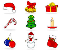 Christmas Set of characters. Christmas Set of Christmas characters such as snowmen and bells Royalty Free Stock Photography