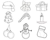 Christmas Set of characters. Christmas Set of Christmas characters such as snowmen and bells Stock Photography