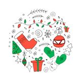 Christmas set in circle. Hand drawn doodle elements. royalty free illustration