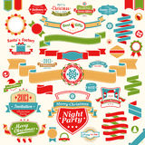 Christmas set - colorful ribbons. Labels and other decorative elements. Vector illustration Royalty Free Stock Image