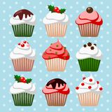 Christmas set of cupcakes and muffins,  illustrati Royalty Free Stock Photo