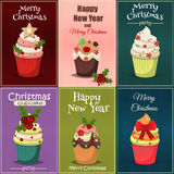 Christmas set of cupcakes and muffins  illustration. Christmas set of cupcakes and muffins . Sweet dessert food christmas cupcakes celebration party winter Stock Images