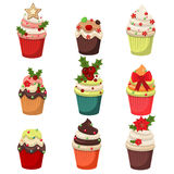 Christmas set of cupcakes and muffins  illustration. Christmas set of cupcakes and muffins . Sweet dessert food christmas cupcakes celebration party winter Royalty Free Stock Photos