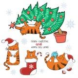 Christmas set. Cute cartoon cats with Santa hat, in Christmas stocking, on Xmas tree. Stock Photography