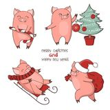 Christmas set of cute little pigs. New Year symbol. Vector illustration Stock Images