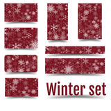Christmas set with 3D effect. Corporate design in winter style. Ui interface, 16: 9, all kinds of backgrounds, card, cards and banners. Eps 10 vector illustration