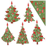 Christmas set of decorated Christmas trees . Royalty Free Stock Photography