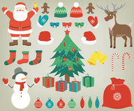 Christmas set with decoration elements. Hand drawn. Vector Royalty Free Stock Images